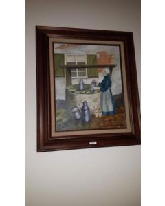 """Schilderij, in houten lijst """"vrouw bij de waterput"""""""