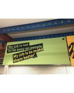 Steve Jobs tekstenbord 100x250 cm