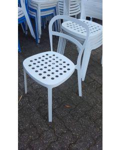 Metalen terras stoel wit, stapelbaar