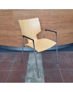 Houtenstoel koppel,stapelbaar beuken/chroom, Casala